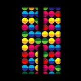 Alphabet Dots Color on Black Background H