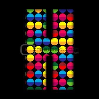 Alphabet Dots Color on Black Background H