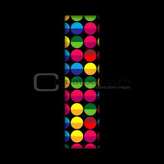 Alphabet Dots Color on Black Background I