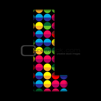 Alphabet Dots Color on Black Background L