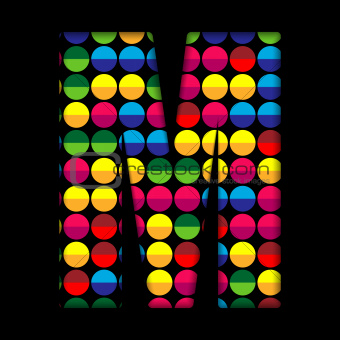 Alphabet Dots Color on Black Background M