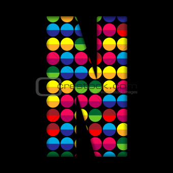 Alphabet Dots Color on Black Background N