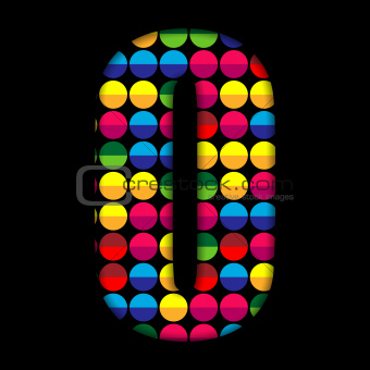 Alphabet Dots Color on Black Background O