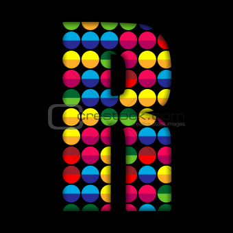 Alphabet Dots Color on Black Background R