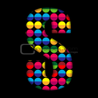 Alphabet Dots Color on Black Background S