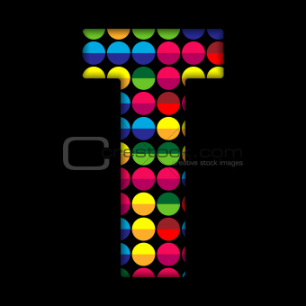 Alphabet Dots Color on Black Background T