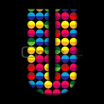 Alphabet Dots Color on Black Background U