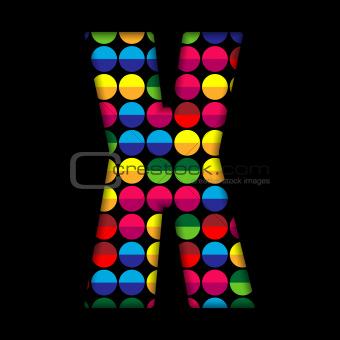 Alphabet Dots Color on Black Background X