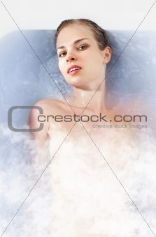 woman in hot bathtab