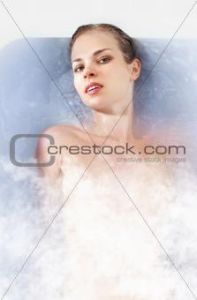 woman in hot bathtab