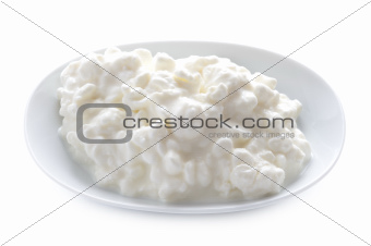 cottage cheese in a dish isolated
