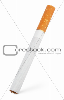 Single cigarette on white