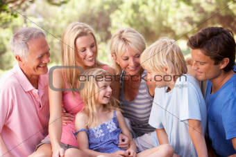A family, with parents, children and grandparents, relaxing in a park