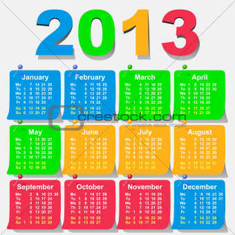 vector 2013 calendar design - week starts with monday