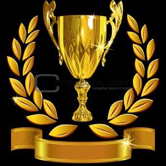 vector set Winning success gold cup, laurel wreath