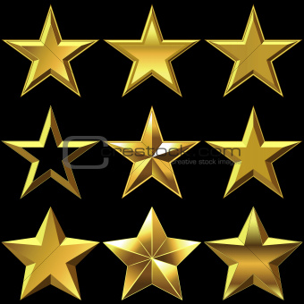 Vector set of golden shiny stars bulk