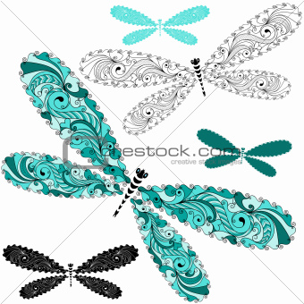 Set lace vintage dragonflies