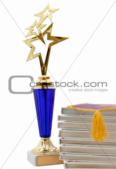 school award and books isolated
