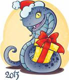 Adorable little snake with Christmas gift.