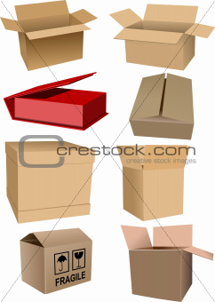 Big Set of carton packaging boxes isolated over white