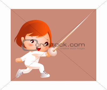 Girl in fencing costume