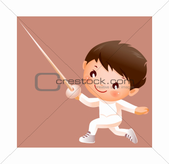 Boy in fencing costume