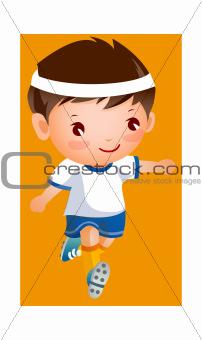 Boy in football player uniform