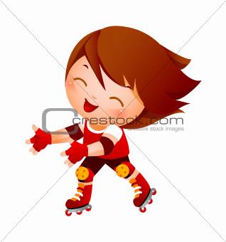 Boy on rollerblades