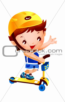Boy on push scooter