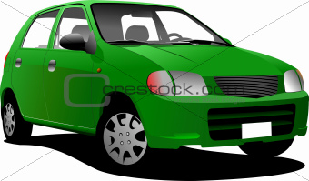 Green colored car sedan on the road. Vector illustration