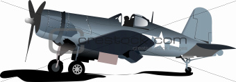 Old military combat. Plane. Air force. Vector illustration