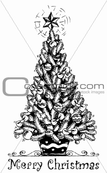 Christmas tree stylized drawing 1