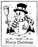Winter snowman theme drawing 2