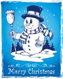 Winter snowman theme drawing 3