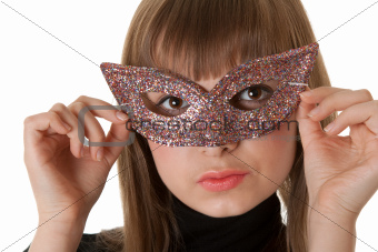 Beautiful girl wearing a mask