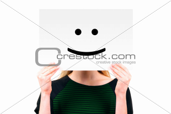 woman keeping a paper with smiling face