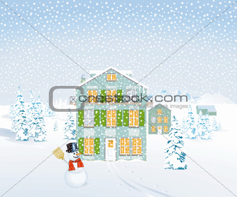 Winter landscape with houses and snowman