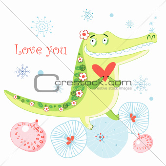 greeting card with a crocodile