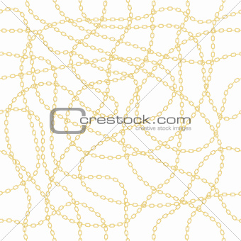 Gold chain on white seamless vector background.