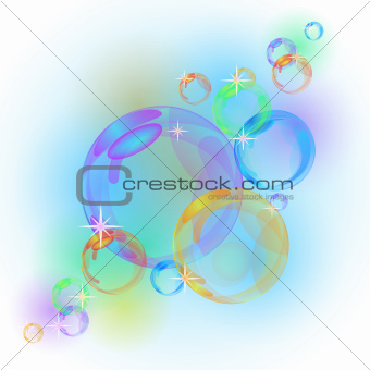 Abstract background with transparent colorful bubbles.