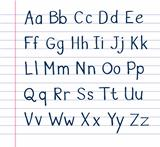 Handwritten alphabet on lined paper