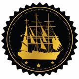 Label with gold sailing ship
