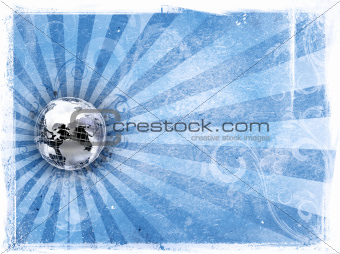 Grunge background with metal world globe