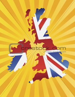 UK England Flag Map with Sun Rays