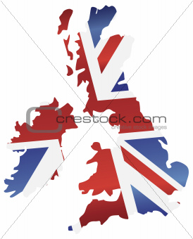 UK England Flag Map Silhouette