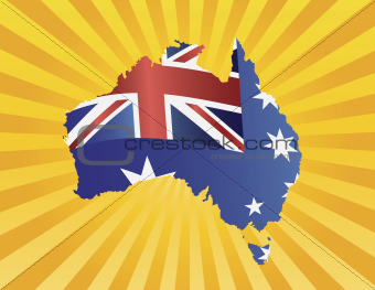 Australia Flag in Map Silhouette on Sun Rays Illustration