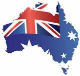 Australia Flag in Map Silhouette Illustration
