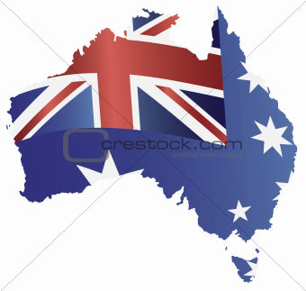 Australia Flag in Map Silhouette Illustration