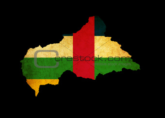Map outline of Central African Republic with flag grunge paper e