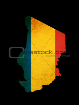 Map outline of Chad with flag grunge paper effect